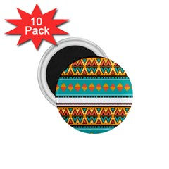Tribal Design In Retro Colors 1 75  Magnet (10 Pack)  by LalyLauraFLM