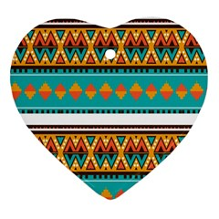 Tribal Design In Retro Colors Heart Ornament (two Sides) by LalyLauraFLM