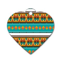 Tribal Design In Retro Colors Dog Tag Heart (two Sides) by LalyLauraFLM