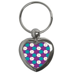 Cubes In Honeycomb Pattern Key Chain (heart) by LalyLauraFLM
