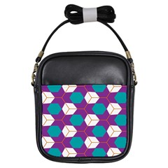 Cubes in honeycomb pattern Girls Sling Bag