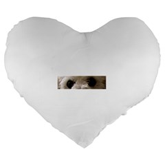 Bolognese Eyes Large 19  Premium Flano Heart Shape Cushions by TailWags