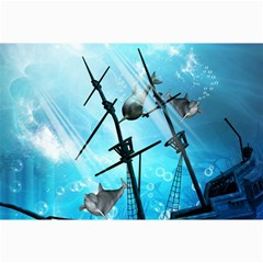 Awesome Ship Wreck With Dolphin And Light Effects Collage 12  x 18  by FantasyWorld7