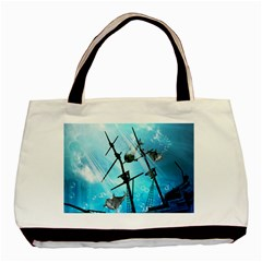 Awesome Ship Wreck With Dolphin And Light Effects Basic Tote Bag (Two Sides)  by FantasyWorld7