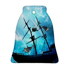 Awesome Ship Wreck With Dolphin And Light Effects Bell Ornament (2 Sides) by FantasyWorld7