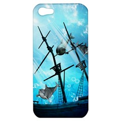Awesome Ship Wreck With Dolphin And Light Effects Apple Iphone 5 Hardshell Case by FantasyWorld7