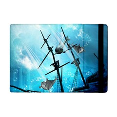 Awesome Ship Wreck With Dolphin And Light Effects Apple Ipad Mini Flip Case by FantasyWorld7