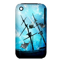 Awesome Ship Wreck With Dolphin And Light Effects Apple Iphone 3g/3gs Hardshell Case (pc+silicone) by FantasyWorld7