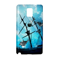 Awesome Ship Wreck With Dolphin And Light Effects Samsung Galaxy Note 4 Hardshell Case by FantasyWorld7