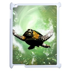 Wonderful Sea Turtle With Bubbles Apple iPad 2 Case (White) by FantasyWorld7