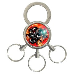 Black Skulls On Red Background With Sword 3-Ring Key Chains by FantasyWorld7