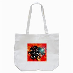 Black Skulls On Red Background With Sword Tote Bag (white)  by FantasyWorld7