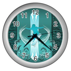 Snowboarder With Snowboard Wall Clocks (silver)  by FantasyWorld7
