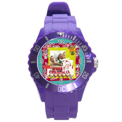 Xmas Merry Charsitmas By Joy   Round Plastic Sport Watch (l)   Gn8y2qif8mz4   Www Artscow Com Front