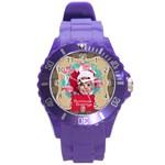 xmas merry charsitmas - Round Plastic Sport Watch (L)