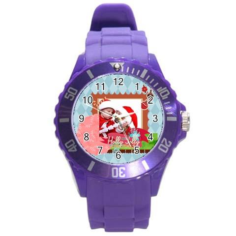 Xmas Merry Charsitmas By Joy   Round Plastic Sport Watch (l)   Mb5e9zaa32cq   Www Artscow Com Front