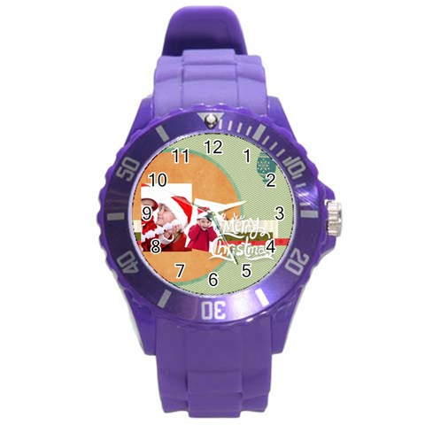 Xmas Merry Charsitmas By Joy   Round Plastic Sport Watch (l)   Gkks9kde8qwv   Www Artscow Com Front