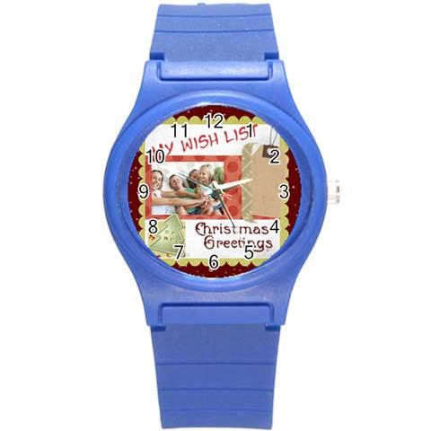 Xmas By Joy   Round Plastic Sport Watch (s)   3ceeu7nj1qnh   Www Artscow Com Front