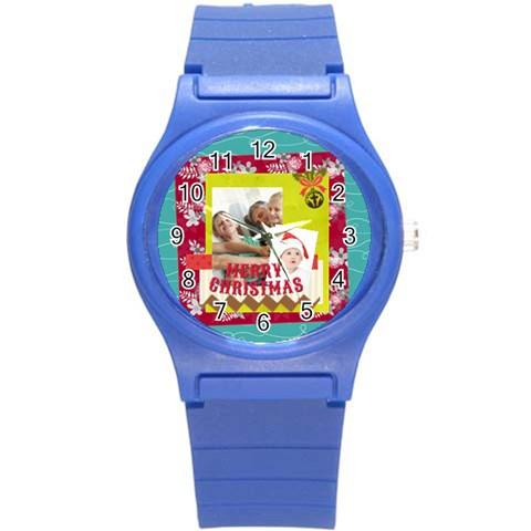 Xmas By Joy   Round Plastic Sport Watch (s)   4jj2thf9na0t   Www Artscow Com Front