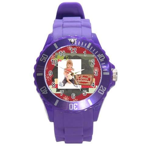 Xmas By Xmas   Round Plastic Sport Watch (l)   Rm6agplhxxdx   Www Artscow Com Front
