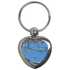 Leafless Tree Branches Against Blue Sky Key Chains (heart)  by dflcprints