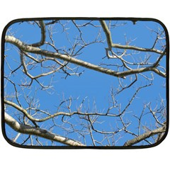 Leafless Tree Branches Against Blue Sky Fleece Blanket (mini) by dflcprints