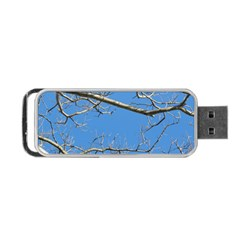 Leafless Tree Branches Against Blue Sky Portable Usb Flash (one Side) by dflcprints