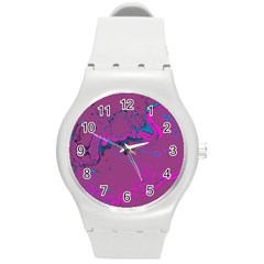 Unique Marbled 2 Hot Pink Round Plastic Sport Watch (m) by MoreColorsinLife