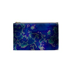 Unique Marbled Blue Cosmetic Bag (small)  by MoreColorsinLife