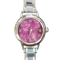 Unique Marbled Pink Round Italian Charm Watches by MoreColorsinLife