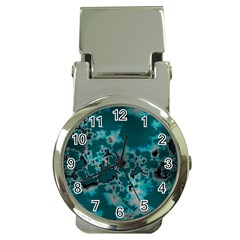 Unique Marbled Teal Money Clip Watches by MoreColorsinLife