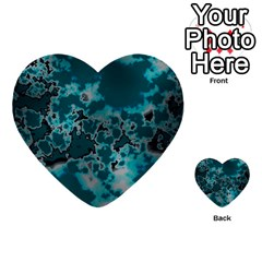 Unique Marbled Teal Multi Purpose Cards (heart)  by MoreColorsinLife