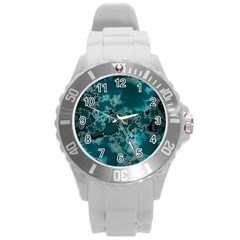 Unique Marbled Teal Round Plastic Sport Watch (l) by MoreColorsinLife