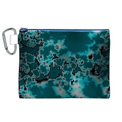 Unique Marbled Teal Canvas Cosmetic Bag (xl)  by MoreColorsinLife