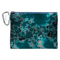 Unique Marbled Teal Canvas Cosmetic Bag (xxl)  by MoreColorsinLife