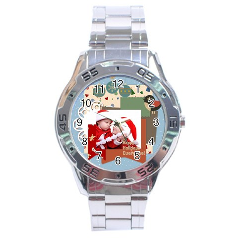 Xmas By Joy   Stainless Steel Analogue Watch   I1llz2bkkb6a   Www Artscow Com Front