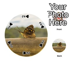 Butterfly Against Blur Background At Iguazu Park Playing Cards 54 (round)  by dflcprints