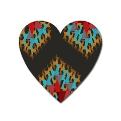 Blue, Gold, And Red Pattern Heart Magnet by theunrulyartist