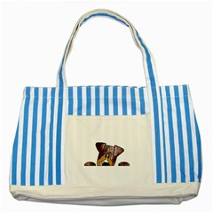Red Merle Peeking  Aussie Striped Blue Tote Bag  by TailWags