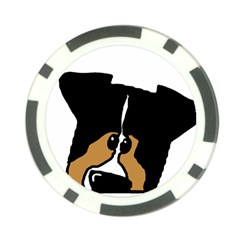 Black Tri Peeping Aussie Dog Poker Chip Card Guards by TailWags