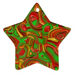 Art Deco Red Green Star Ornament (two Sides)  by MoreColorsinLife