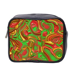 Art Deco Red Green Mini Toiletries Bag 2-Side by MoreColorsinLife