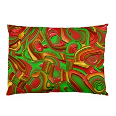 Art Deco Red Green Pillow Cases (two Sides)