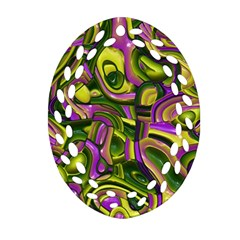 Art Deco Yellow Green Oval Filigree Ornament (2 Side)  by MoreColorsinLife