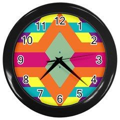 Colorful Rhombus And Stripes Wall Clock (black) by LalyLauraFLM