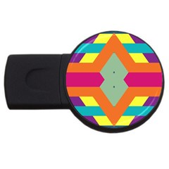 Colorful Rhombus And Stripes Usb Flash Drive Round (2 Gb) by LalyLauraFLM