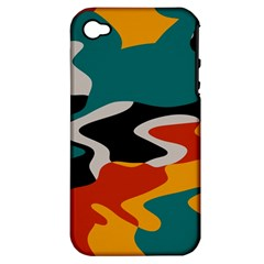 Misc Shapes In Retro Colors Apple Iphone 4/4s Hardshell Case (pc+silicone) by LalyLauraFLM