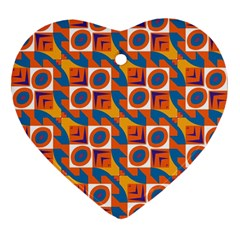 Squares And Other Shapes Pattern Heart Ornament (two Sides) by LalyLauraFLM
