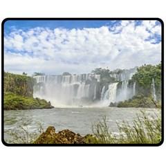 Waterfalls Landscape At Iguazu Park Double Sided Fleece Blanket (medium)