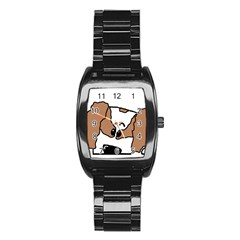 cavalier king charles spaniel Peeping  Stainless Steel Barrel Watch by TailWags